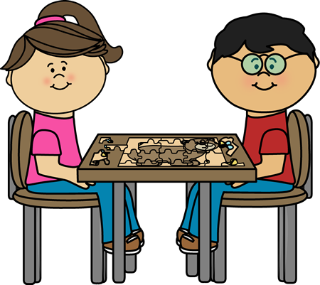 Children putting together clip. Puzzle clipart center