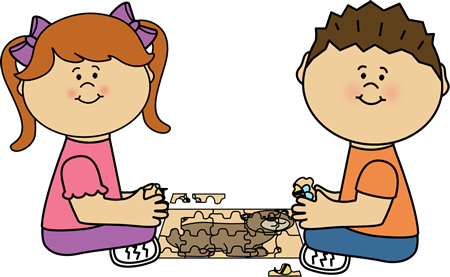 Kids putting together clip. Puzzle clipart center