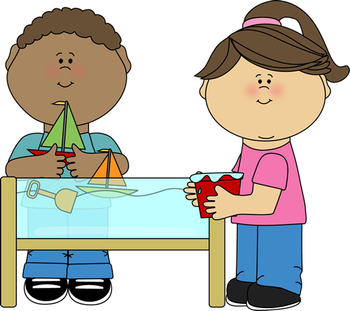 Kids playing at a. Centers clipart sensory table