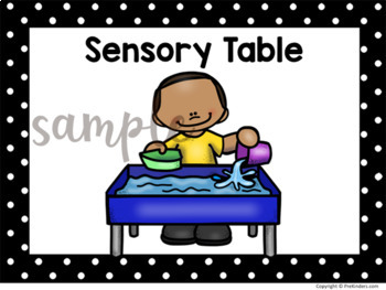Centers clipart sensory table. Center signs for preschool