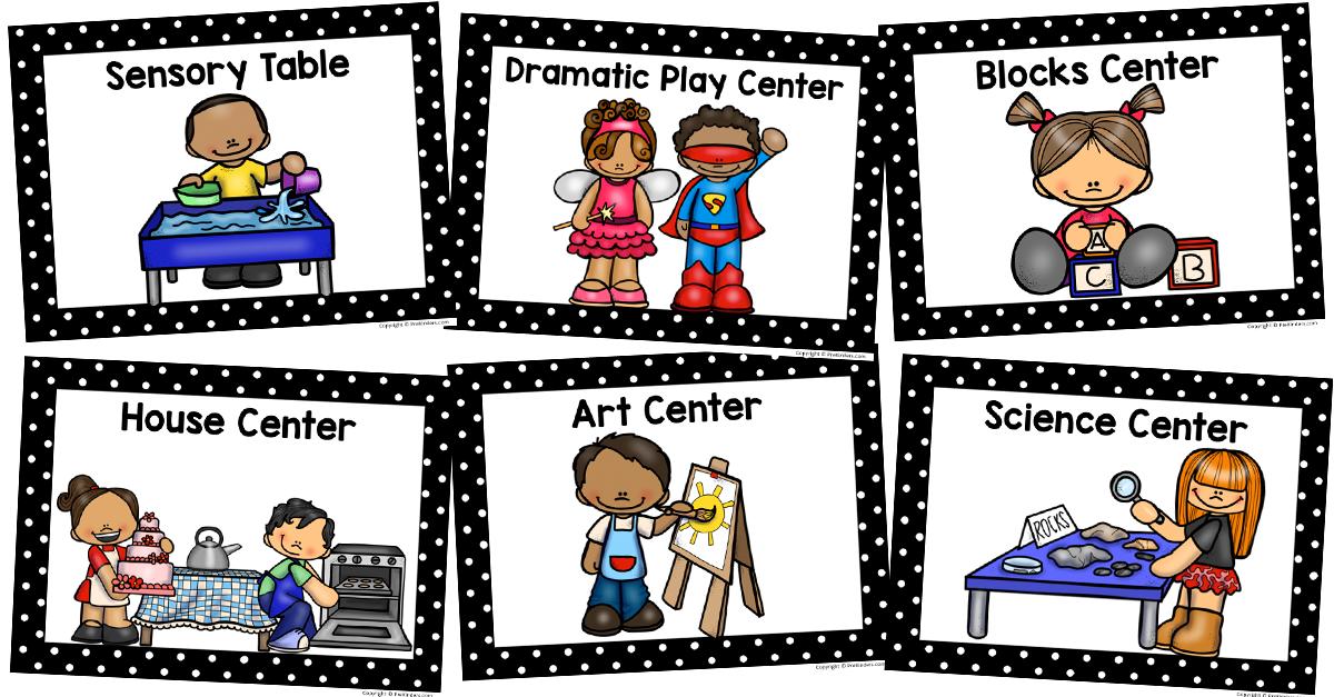 Centers clipart sensory table. Center signs preschool classroom