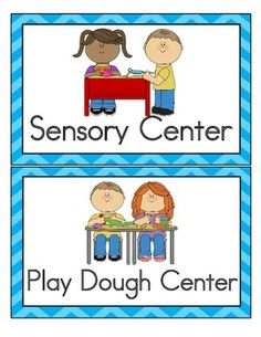 Preschool center signs and. Centers clipart sign