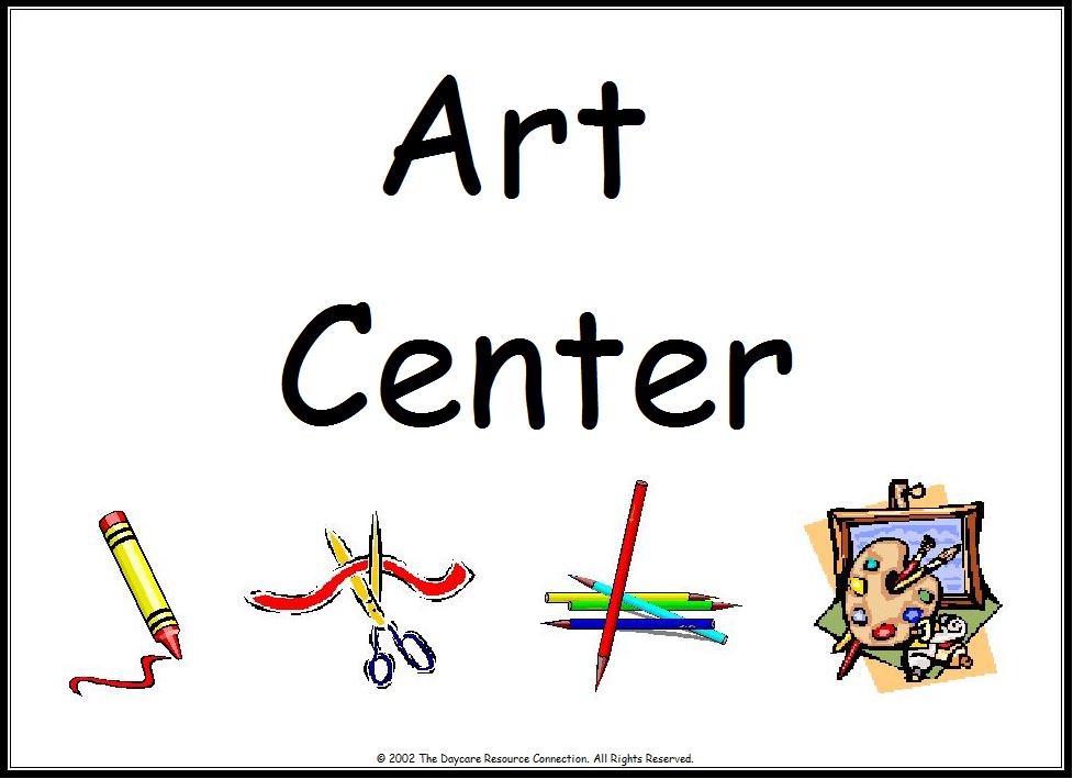 Preschool art center . Centers clipart sign