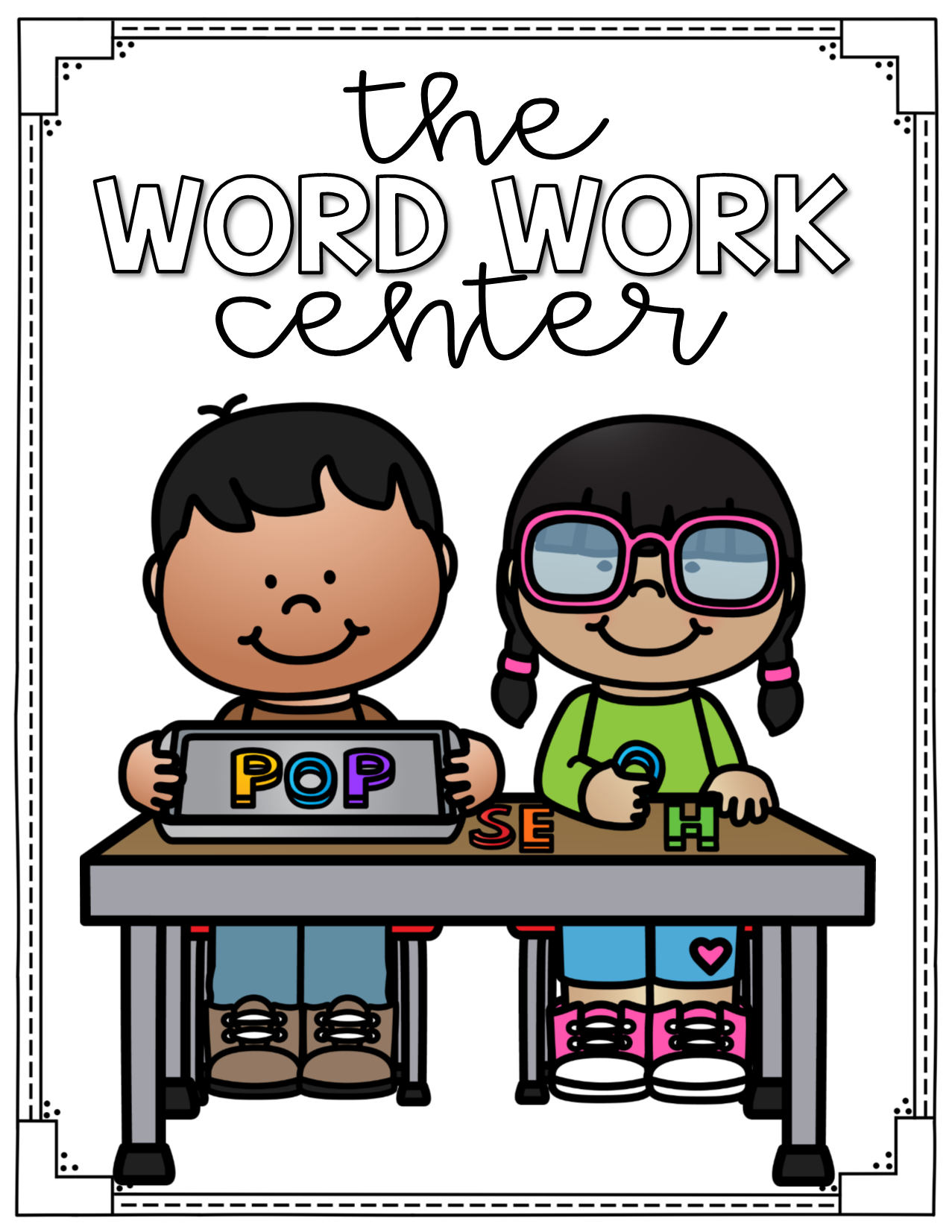 Words clipart work station. Word center labels for