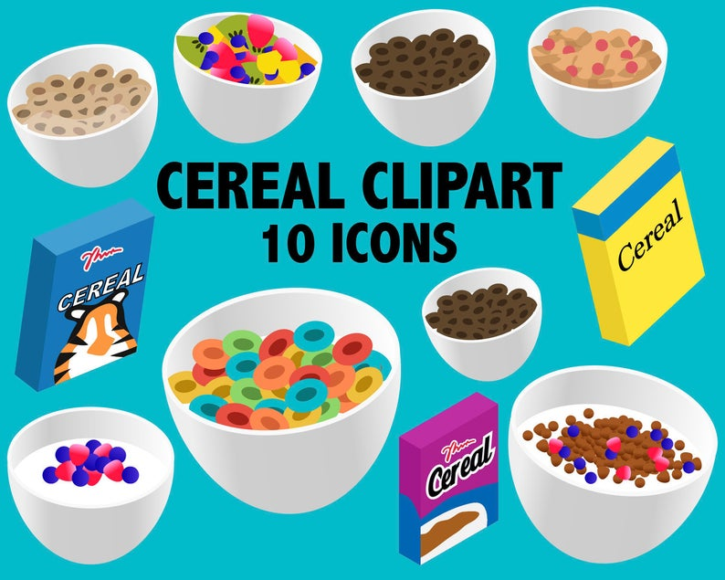 Breakfast and brunch cold. Cereal clipart