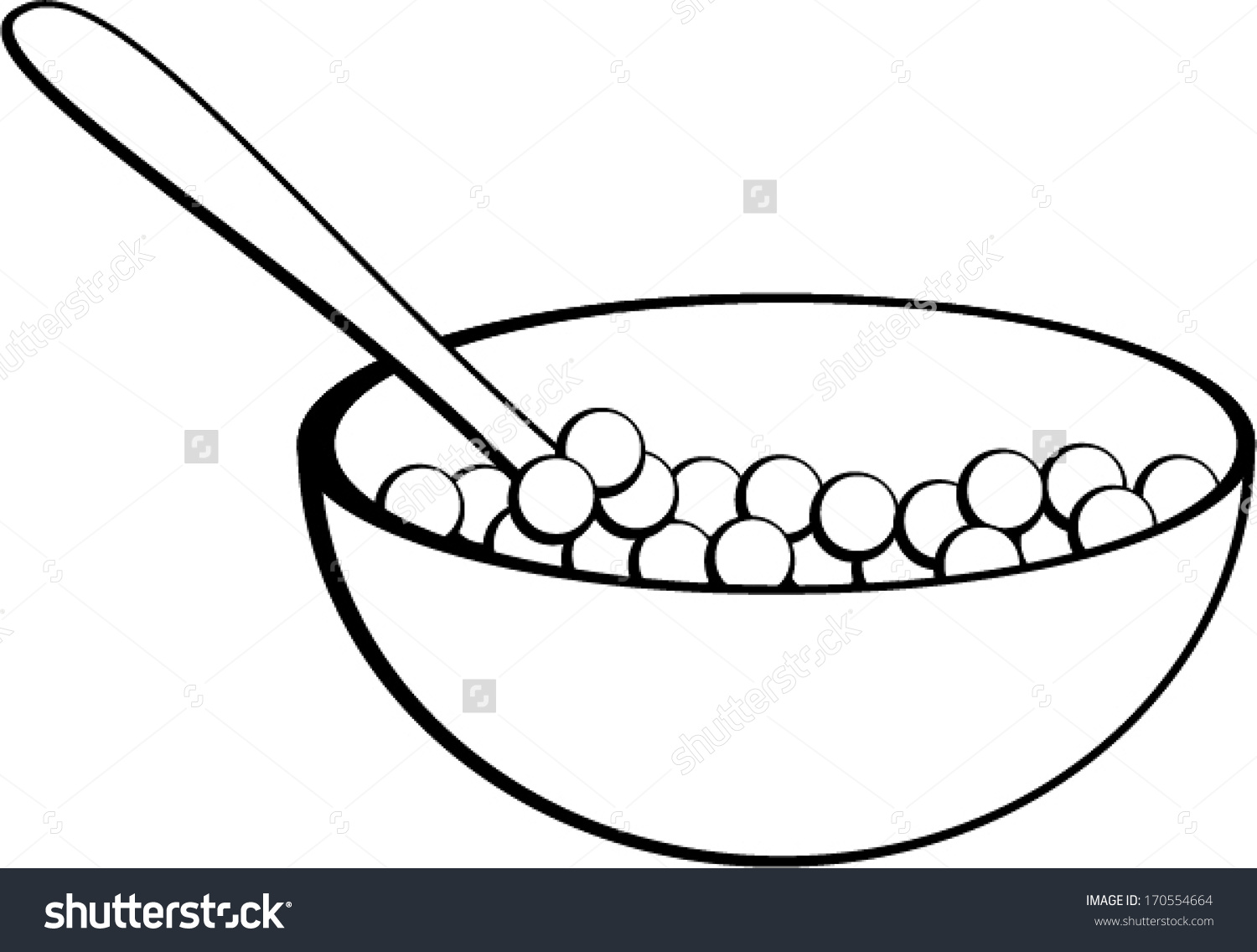 collection of bowl. Cereal clipart black and white