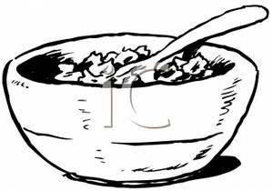 Cereal clipart black and white. Bowl of picture
