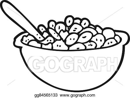 Vector illustration cartoon bowl. Cereal clipart black and white
