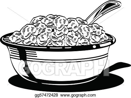 Cereal clipart bowl spoon. Eps vector with milk