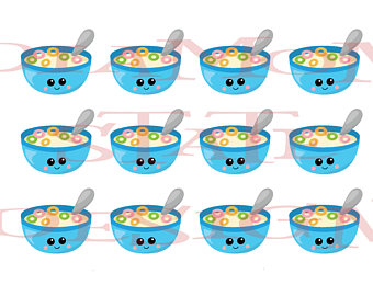 Stickers etsy bowl foods. Cereal clipart breakfast food