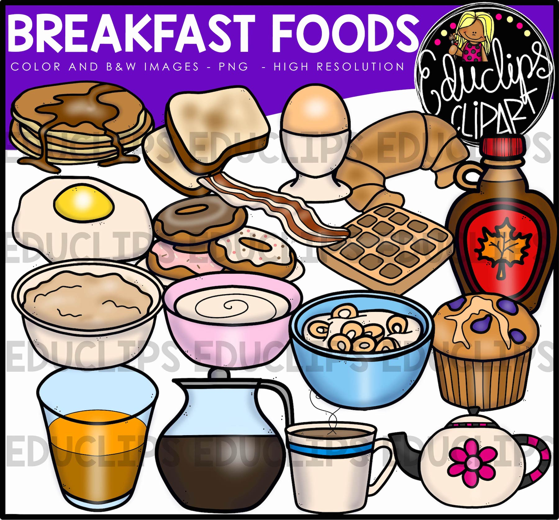 Cereal clipart breakfast food. Foods clip art bundle