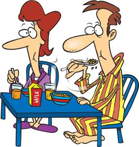 Cereal clipart breakfast time. Cartoon couple eating for