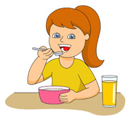 Girl eating station. Cereal clipart breakfast time
