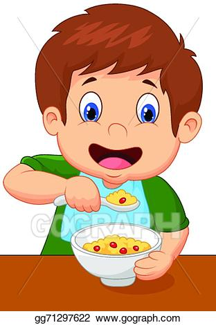 Vector art boy cartoon. Cereal clipart ceral