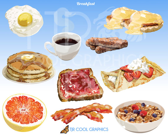 Breakfast digital realistic clip. Cereal clipart cereal toast