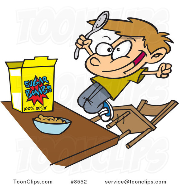 Cartoon boy eating sugary. Cereal clipart child