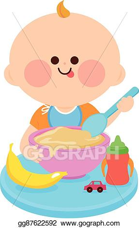 Eps illustration baby eating. Cereal clipart child