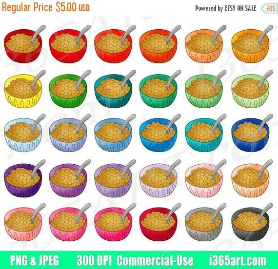 Bowls breakfast food digital. Cereal clipart colorful