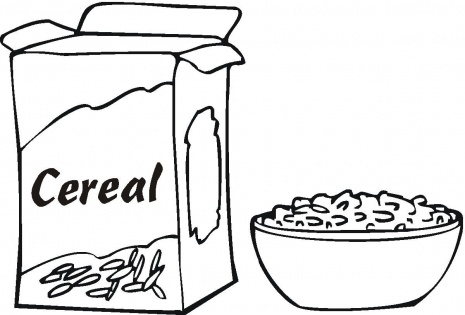 Breakfast pages printable download. Cereal clipart coloring page