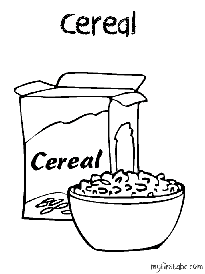 Bowl of pages open. Cereal clipart coloring page