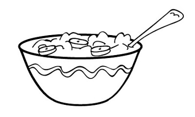 Plate with colouring pages. Cereal clipart coloring page