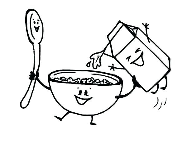 Cereal clipart coloring page. Pages vector of a
