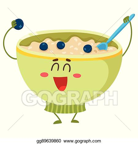 Cereal clipart cute. Vector funny bowl of