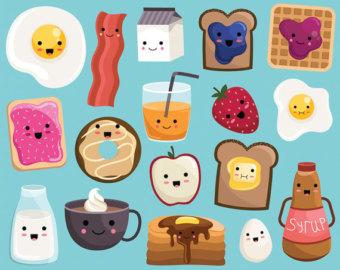 Cereal clipart cute. Food etsy kawaii breakfast