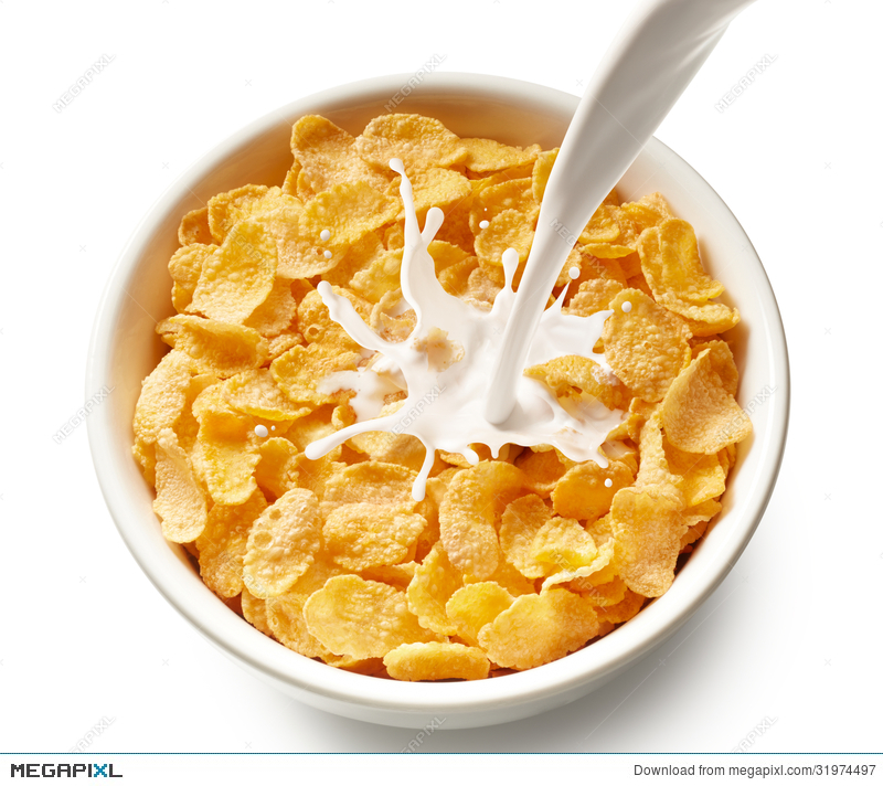 Cereal clipart frosted flakes. Corn with milk stock