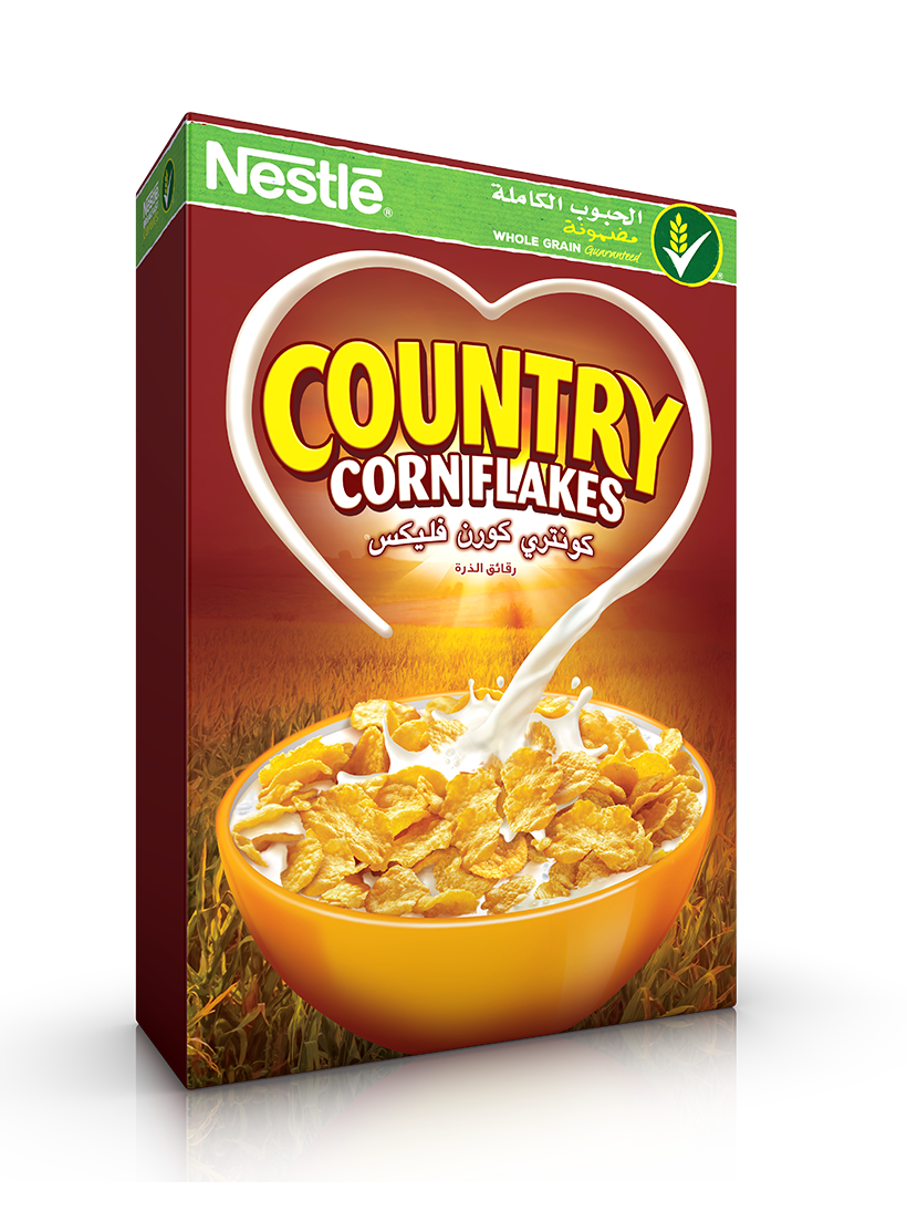 Nestle country corn breakfast. Cereal clipart frosted flakes