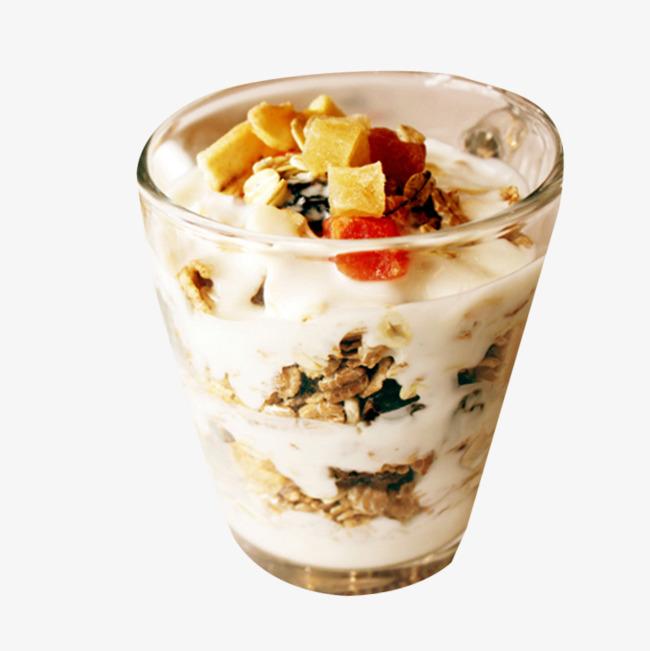 Yogurt cup oatmeal breakfast. Cereal clipart fruit