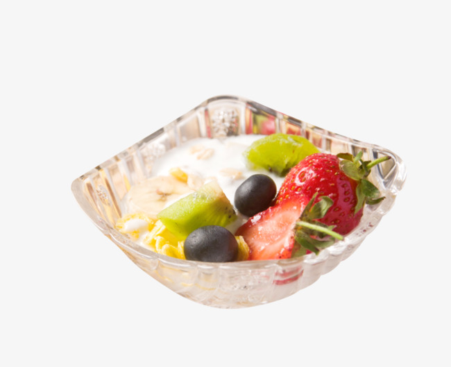 Glass bowl of breakfast. Cereal clipart fruit