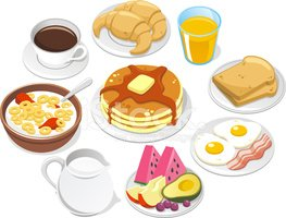 Cereal clipart fruit. Breakfast menu coffee croissant