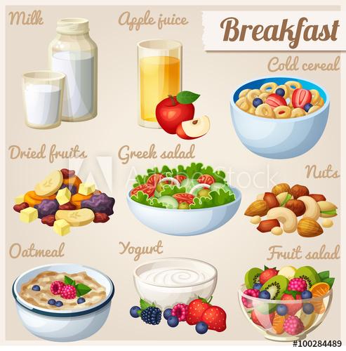 Cereal clipart fruit. Breakfast set of cartoon