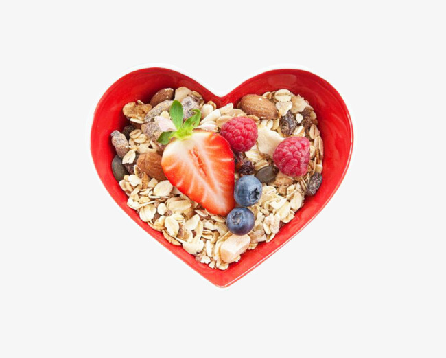 Cereal clipart fruit. Heart shaped bowl of