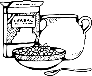 Box and milk clip. Cereal clipart healthy cereal