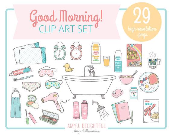 Cereal clipart morning breakfast. Good clip art set