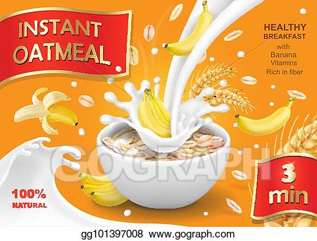 Cereal clipart oats. Vector illustration oatmeal muesli