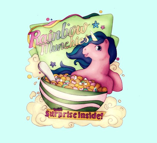Cereal clipart rainbow. Munchies unicorn posters by