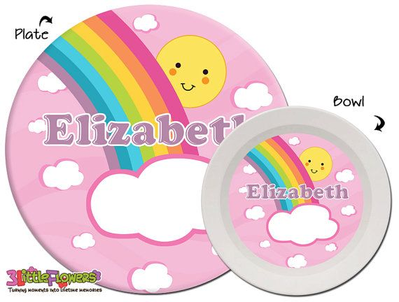 Personalized Rainbow Plate and Bowl Set
