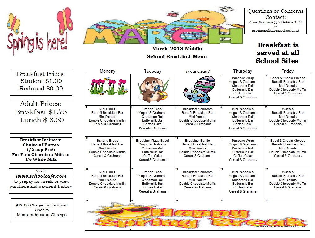 Cereal clipart school breakfast. Child nutrition services menus