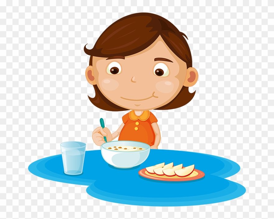 Girl eating and fruit. Cereal clipart school breakfast