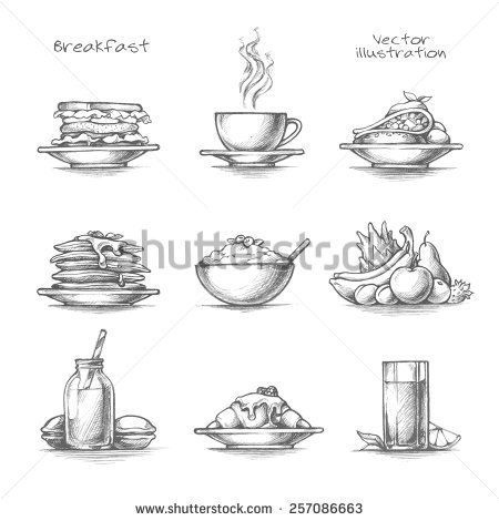 Food and drinks set. Cereal clipart sketch