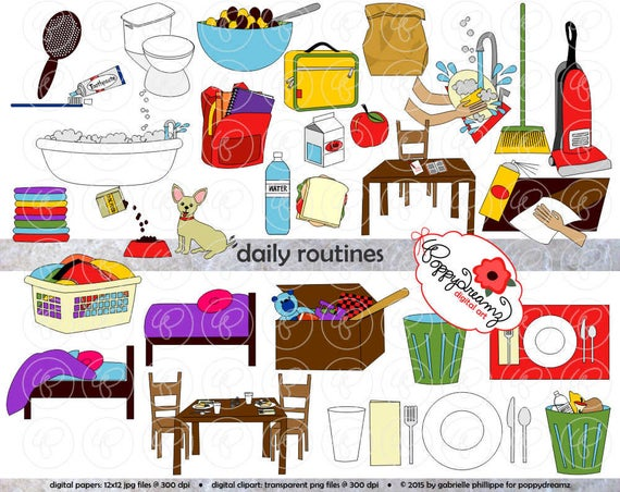 Chore clipart school. Daily routines dpi transparent