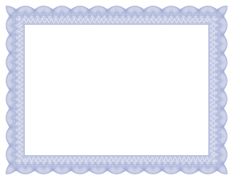 Certificate border png. Formal borders blue