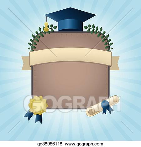Vector graduation template with. Certificate clipart animation