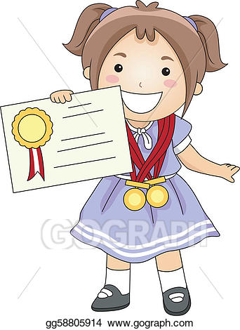 Certificate clipart certificate recognition. Vector stock kid illustration
