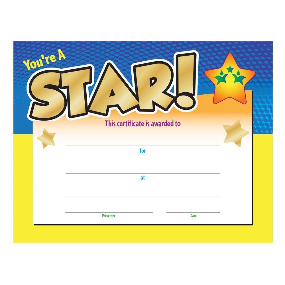 You re a award. Certificate clipart certificate star