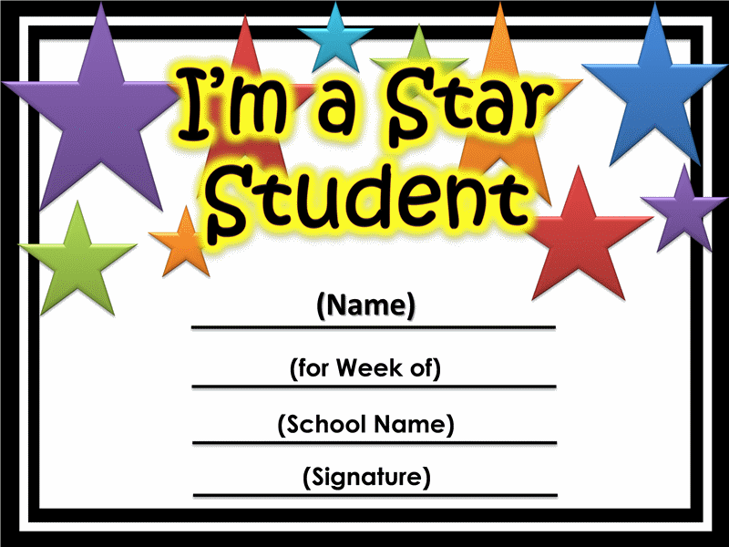 Certificate clipart certificate star. Of the week printable