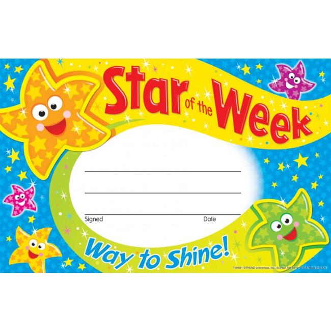 Of the week award. Certificate clipart certificate star